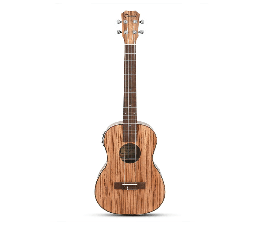 Caramel CB103 30 Inch High Gloss Zebra Wood Baritone Acoustic-Electric Ukulele